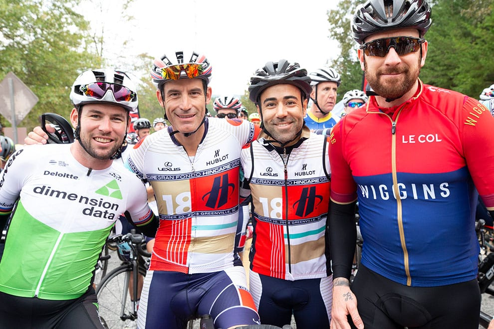 George Hincapie with Mark Cavendish and Sir Bradley Wiggins
