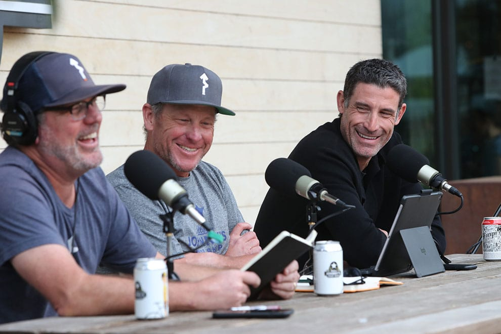 Lance Armstrong and George Hincapie taping the Move Podcast at Gran Fondo Hincapie Fort Worth